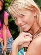 Sweet Denisa : Outdoor girl on girl action