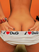 Cute Joy : Cute teeny showing off her ass in sexy D&G panties and getting naked to play with the beads