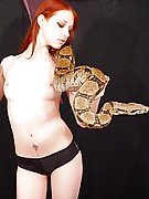 Liz Vicious : Playing with a boa constrictor