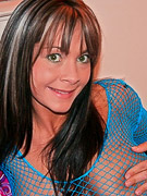 Bailey Boobies : Sexy Bailey on blue fish net shirt flashing her jugs