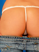 Kates Playground : Kate pulls down her jeans and shows off her perfect ass in a little g string