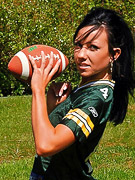 Trista Stevens : Trista plays ball in this sexy packers jersey