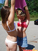 Piper Fox : Piper and her friend getting caught posing naked in teh middle of the road