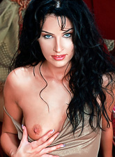 Dark haired goddess of love Isabella Camille will make evil look so very nice.