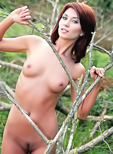 Katrin B takes her dress outdoors and then shows us her fantastic perky boobs.