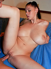 Gianna Michaels screams and moans passionately while she jumps on big piece of meat