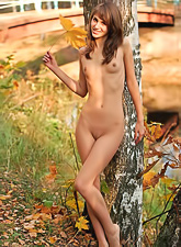Inna C takes her clothes off in the woods and teases us with her hungry wet muff.