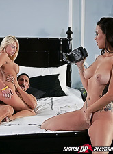Sophia Santi and Shawna Lenee take their slutty outfits off and have incredible sex.