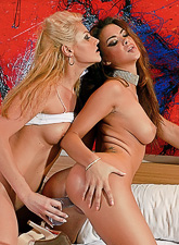 Sophia Santi and Samantha Ryan strip their slutty outfits off and have sex.
