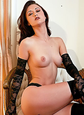 Karlie Montana takes her black lingerie off for the camera and teases in high heels.