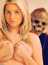 Alison Angel proves she can be wild and naughty even when meeting a zombie.