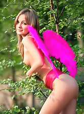 Elle B takes her sexy pink lingerie outdoors and shows us her fantastic tight ass.