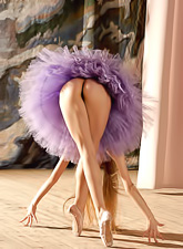 Jasmine A takes her sexy purple ballet dress and shows us her amazing tight ass.