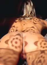 Heather Wild strips her sexy black thongs in front of the camera and shows off.