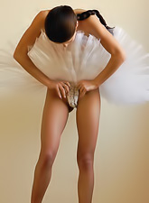 Masha C slowly strips her sexy ballet skirt and shows us her hungry deep cunt.