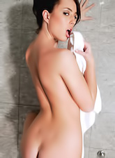 Stracy Stone takes her towel off in the shower and teases us with her big jugs.