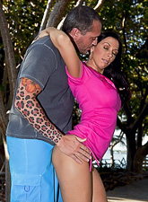 Rachel Starr strips her slutty tight pink dress in the park and fucks on the bench.