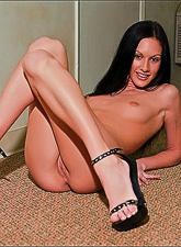 Taylor Rain takes her sexy black panties off and teases us wearing sexy black heels.