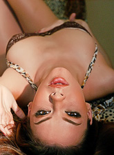 Sophia Santi takes her lingerie off and gives her hung lover a good blowjob.