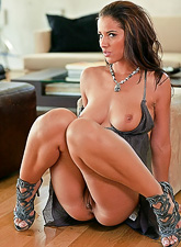 Angel Dark takes her slutty dress off and gets her tight fanny rammed hard.