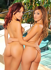Wild lesbo chicks Melanie Jane and Valerie Rios strip outdoors and have wild sex.
