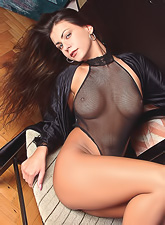 Dorothy Black shows off her body in black transparent outfit that shows everything.